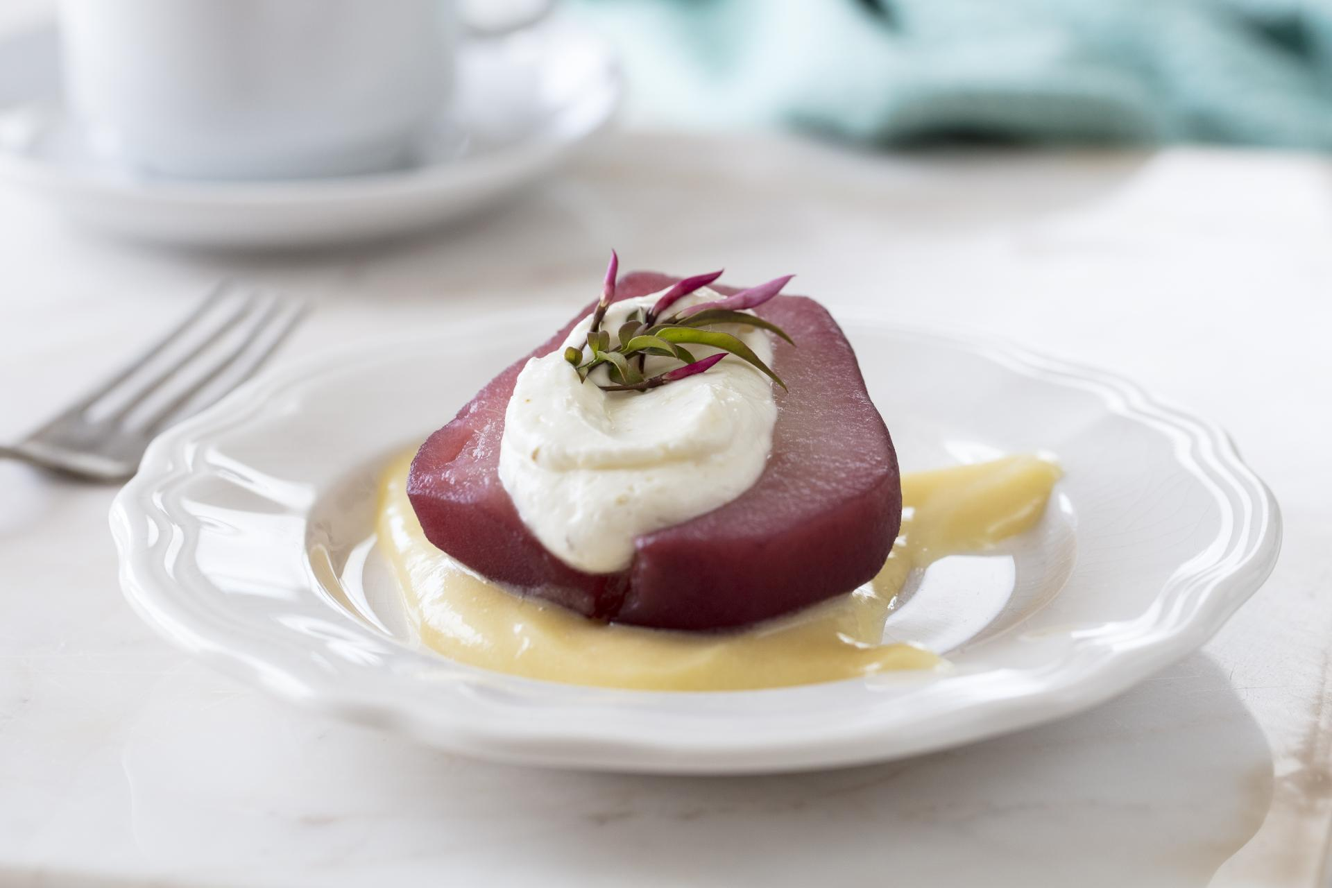 Poached Pears with Purple Haze® Cream